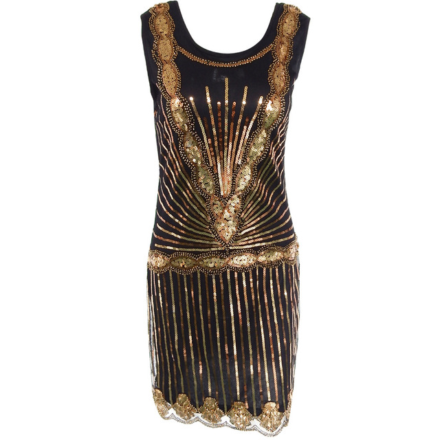 Vintage Womens 1920s Gold Sequin Bead Sleeveless Art Deco Style Great Gatsby Charleston Flapper Dress Evening Party Costumes