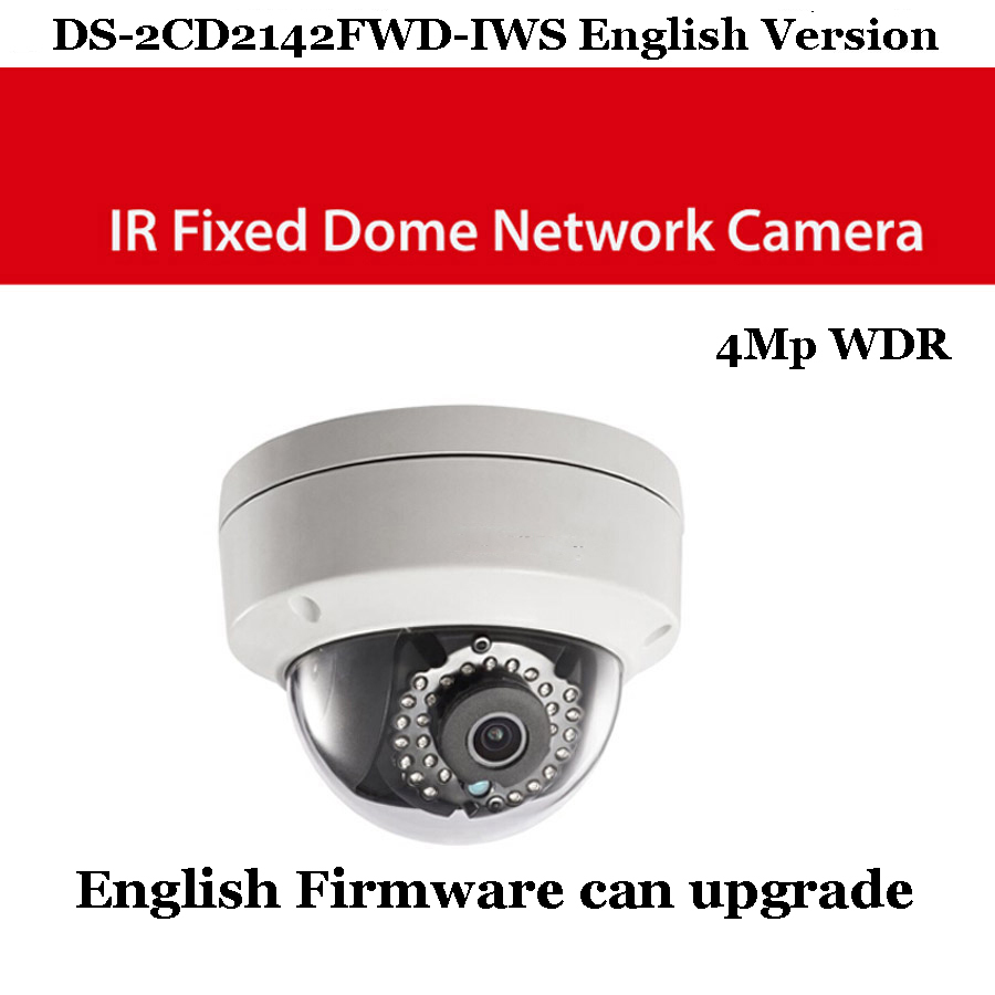 Hik 4mp WDR DS-2CD2142FWD-IWS, Wifi POE Audio 4Mp CCTV camera Fixed IR Dome, 3DNR  IP66, security camera,Pure English version free shipping in stock new arrival english version ds 2cd2142fwd iws 4mp wdr fixed dome with wifi network camera