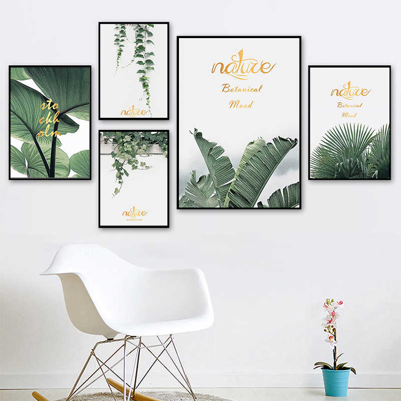 LZN Watercolor Green Plants Leaf Canvas Paintings Nordic Scandinavian Office Wall Art Poster Pictures for Living Room Home Decor