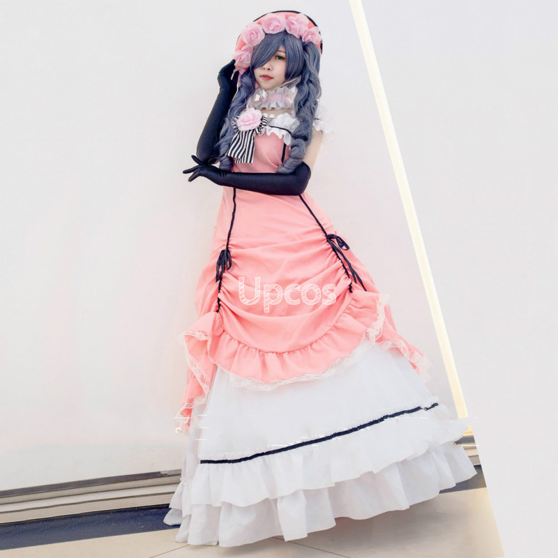 Animation Black Butler Ciel Cosplay Dress Kuroshitsuji Ciel Phantomhive Costume Pink Dresses Hat Gloves