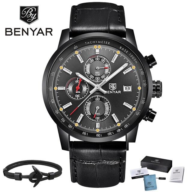 d240b16e1108 2018 BENYAR Mens relojes Top marca de lujo de moda cronógrafo Deporte  Militar impermeable reloj de