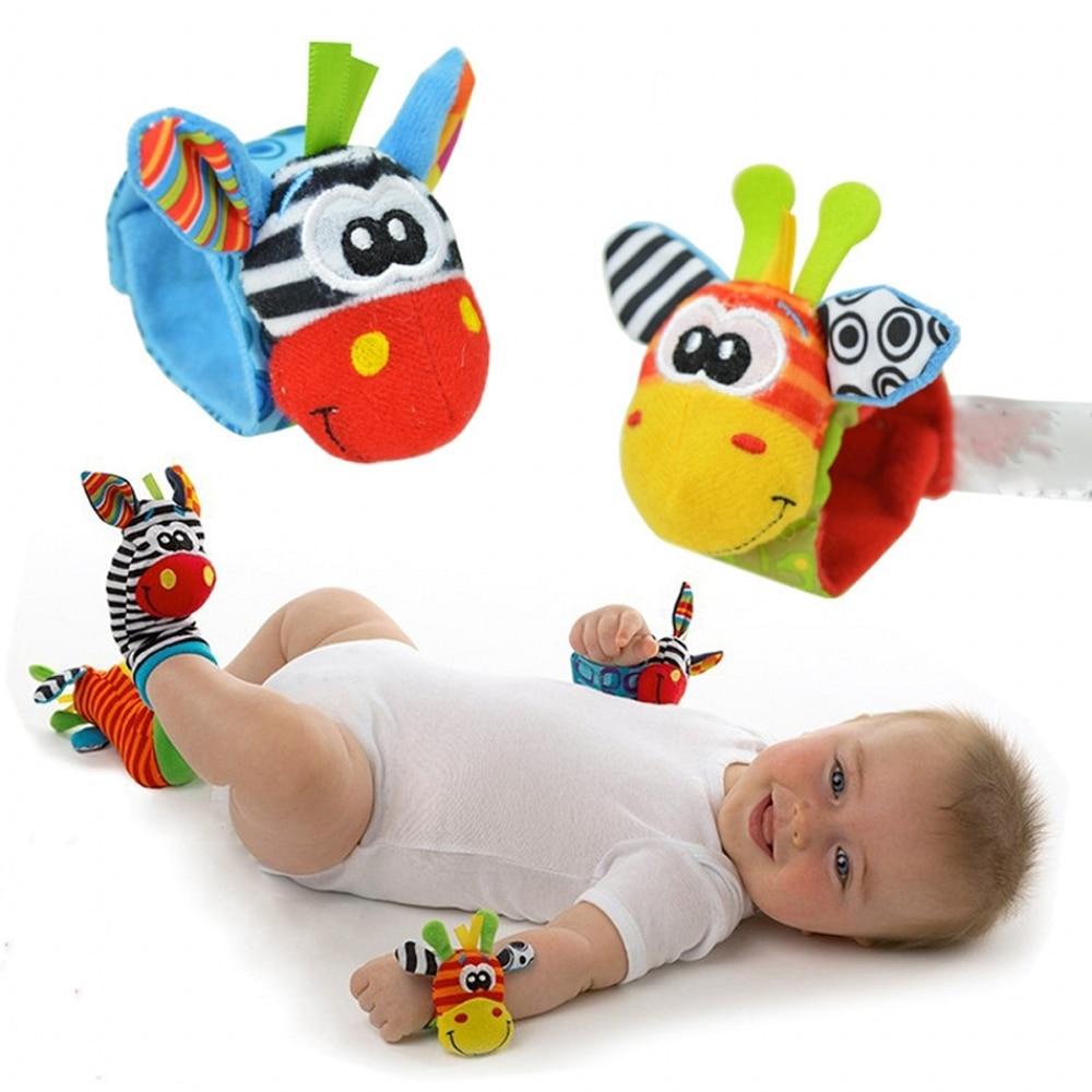Baby Toy 0-12 Month Carton Baby Toys Rattles Infant Animal Foot Finder Socks Wrist Strap Baby Rattles Soft Newborns Plush Sock