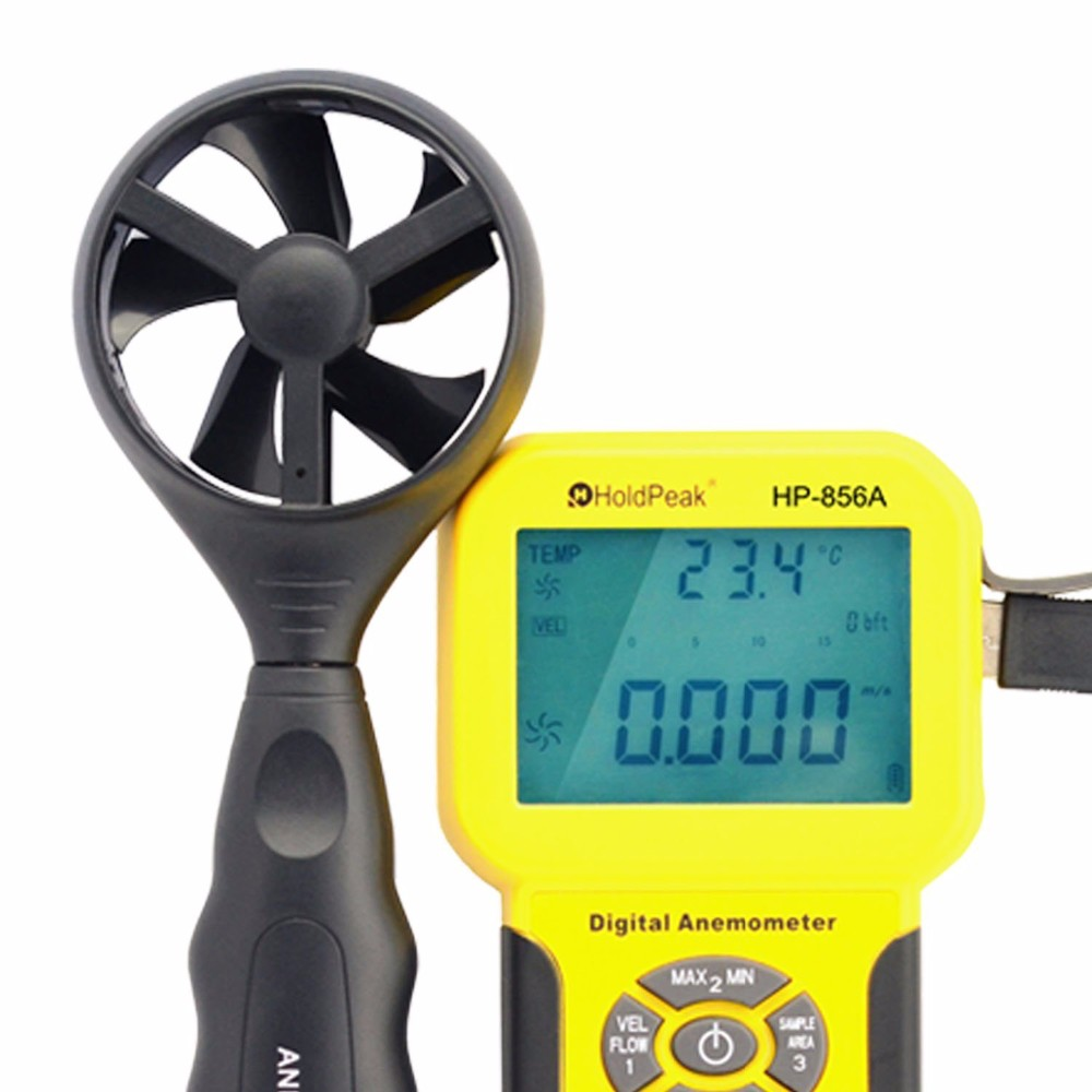 Digital Wind Speed Air Volume Meter  Anemometer Handheld with Data Logger Temperature Range Data record az8904 handheld digital anemometer wind speed meter wind speed tester electronic measuring instruments air volume meter