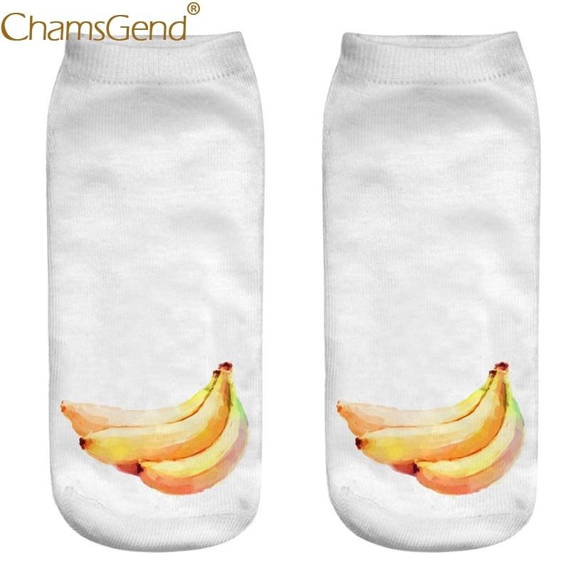 Chamsgend Drop Shipping Women Oil Paint Banana Print Short Cotton Socks calcetines mujer 80402
