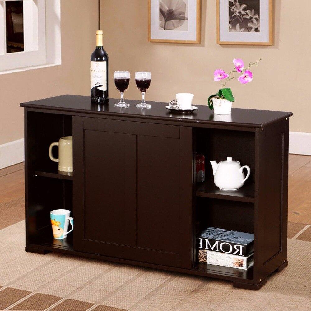 Goplus maison salon meuble de rangement Buffet placard en bois porte coulissante garde-manger moderne armoires de cuisine HW53868