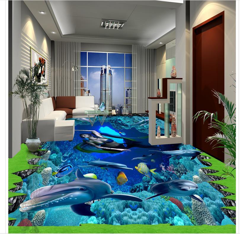 ФОТО Ocean dolphin 3D wallpaper floor for living room Custom Photo self-adhesive 3D floor PVC waterproof floor
