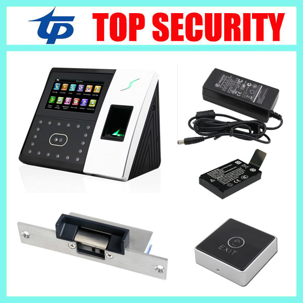 ZK iface702 face recognition time attendance time clock and door access control system with electric lock and back up battery tcp ip biometric face recognition door access control system with fingerprint reader and back up battery door access controller