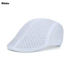 401b3999242f7 Primavera Verano estilo británico clásico hombre malla boinas gorras Casual  Color sólido gorras boinas sombreros transpirable