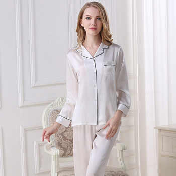 100% Silk Women Pajamas Natural Silkworn Silk Sleepwear Female Long-Sleeve Top Pants Two-Piece Sets Spring Summer New T8002 - DISCOUNT ITEM  22% OFF All Category