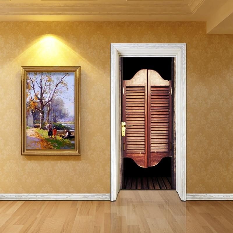 2 Teile/satz 3d Kreative Hotel Saloon Tür Aufkleber Tapete Wand Aufkleber Holz Aufkleber Wasserdicht Wohnzimmer Hause Dekoration