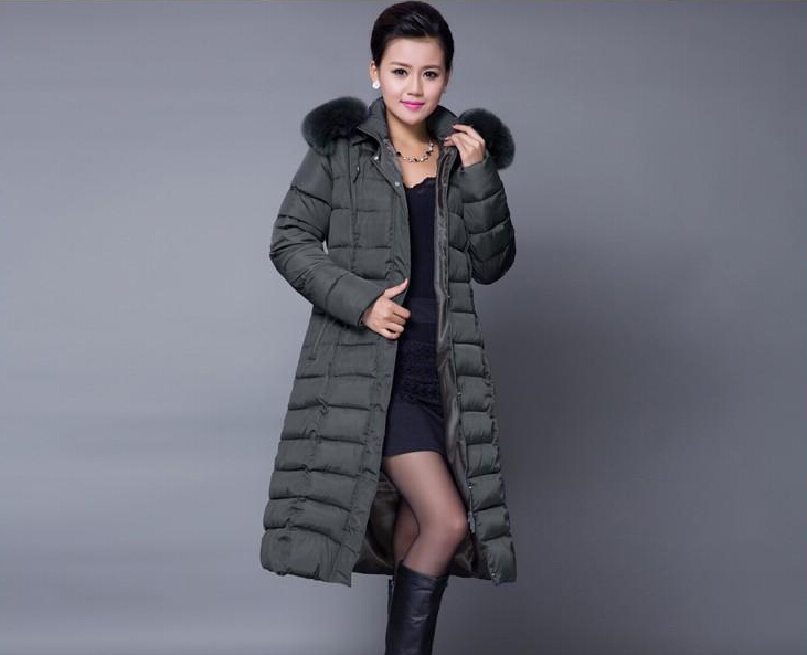 Winter Women Fashion Long Thick Warm Down Cotton Jacket Women Plus Size High Quality Fur Collar Slim Coat  Women Overcoat Parka winter women fashion long thick warm 100%cotton filling jacket women plus size fur raccoon collar slim coat overcoat parka