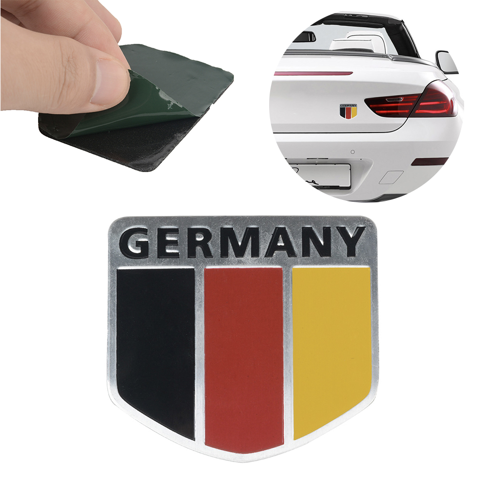 1pcs 3D Metal Germany German Flag Badge Car Stickers Car Front Grille Emblem Stickers Decals Racing Sports Auto Car Accessories