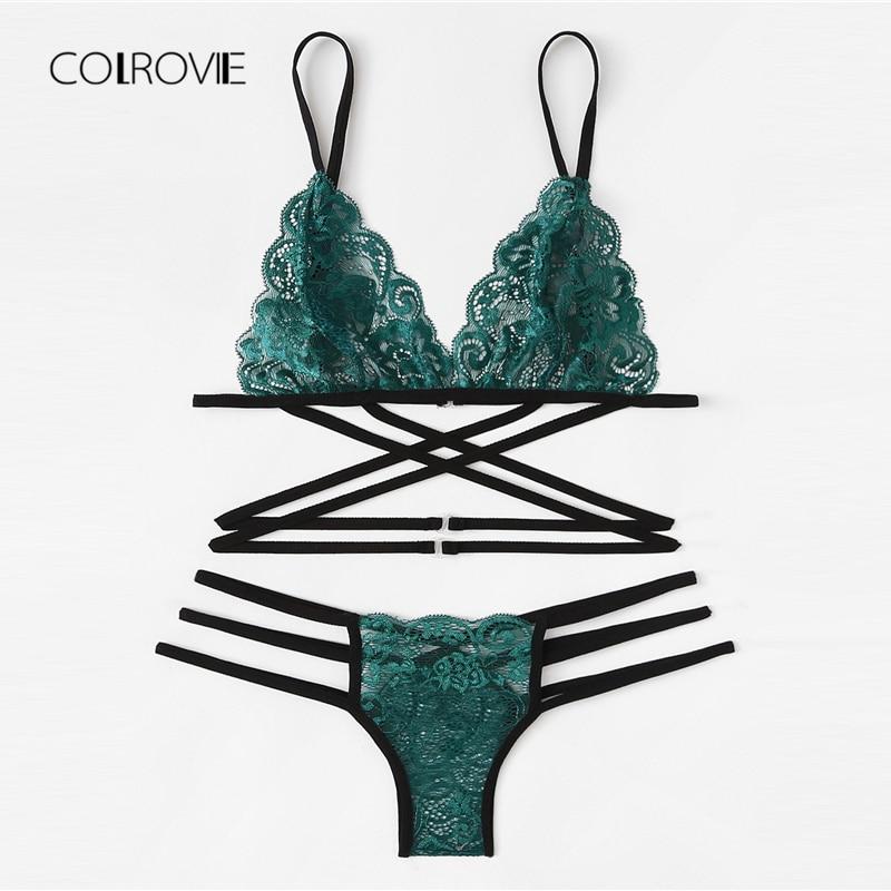 COLROVIE Green Sexy Floral Scalloped Trim Strappy Lingerie Set 2019 Women Bra And Thongs Sets Wireless Sexy Underwear Bra Set