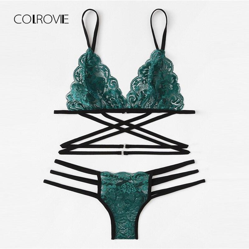 29643463831a Cheap COLROVIE verde Sexy Floral ribete Strappy Lencería Set 2019 mujeres  sujetador y tangas conjunto de