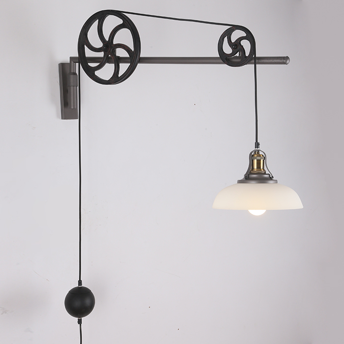 Edison Loft Industrial Vintage Lifting Pulley Wall Lamp Antique American Retractable Pulley Wall Scone Lamp For Cafe Club Bar