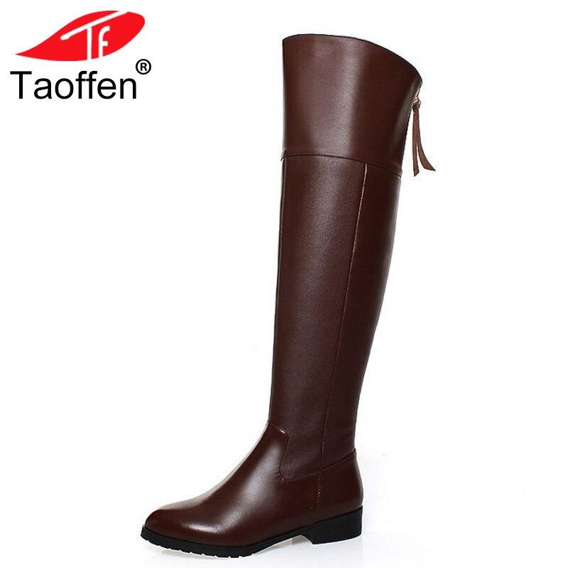 TAOFFEN/Бесплатная доставка по колено natrual реальные натуральная кожа сапоги на высоком каблуке Женская зимняя теплая обувь R5017 EUR размеры 34–42