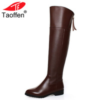 TAOFFEN Free shipping over knee natrual real genuine leather high heel boots women snow winter warm shoes R5017 EUR size 34 42