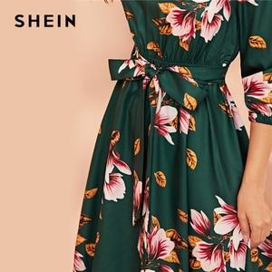 Image 3 - SHEIN Green Abaya Elastic Waist Belted Floral High Waist Dress Women Spring Autumn Bishop Sleeve Flared Elegant Long Dresses