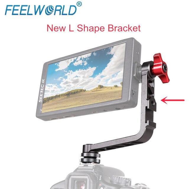 Feelworld Nuovo Forma di L Staffa In Alluminio per F570 F6 F5 FW450 Piccola Macchina Fotografica Monitor di Montaggio su DSLR Stabilizzatore Giunto Cardanico gru Rig