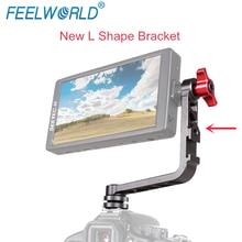 Feelworld Soporte de aluminio con forma de L para F570, F6, F5, FW450, montaje de Monitor de campo para cámara pequeña, estabilizador, cardán, grúa, aparejo