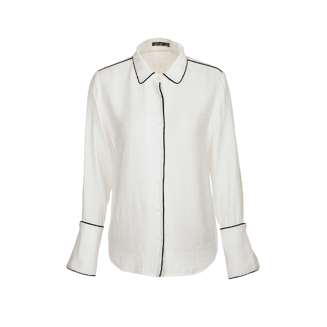 Contrast Color Turn-Down Collar Button Long Sleeve Loose Casual Women Shirts Blouses White