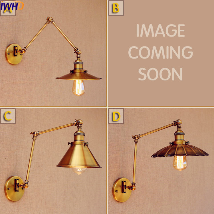 IWHD Industrial Swing Long Arm Wall Light LED Gold Copper Antique Retro Vintage Wall Lamp Loft Edison Sconce Applique Murale недорого