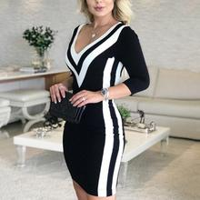 2019 Women Fashion Elegant Causal V-Neck Black Mini Party Dresses Ladies Sexy Contrast Color Striped Tape Bodycon Dress contrast tape v neck tee