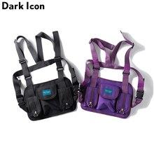 Dark Icon Multi Function Pocket Vest Men Women 2018 New Fashion Best Match Hip Hop Men's Vest Streetwear Clothing Black Purple