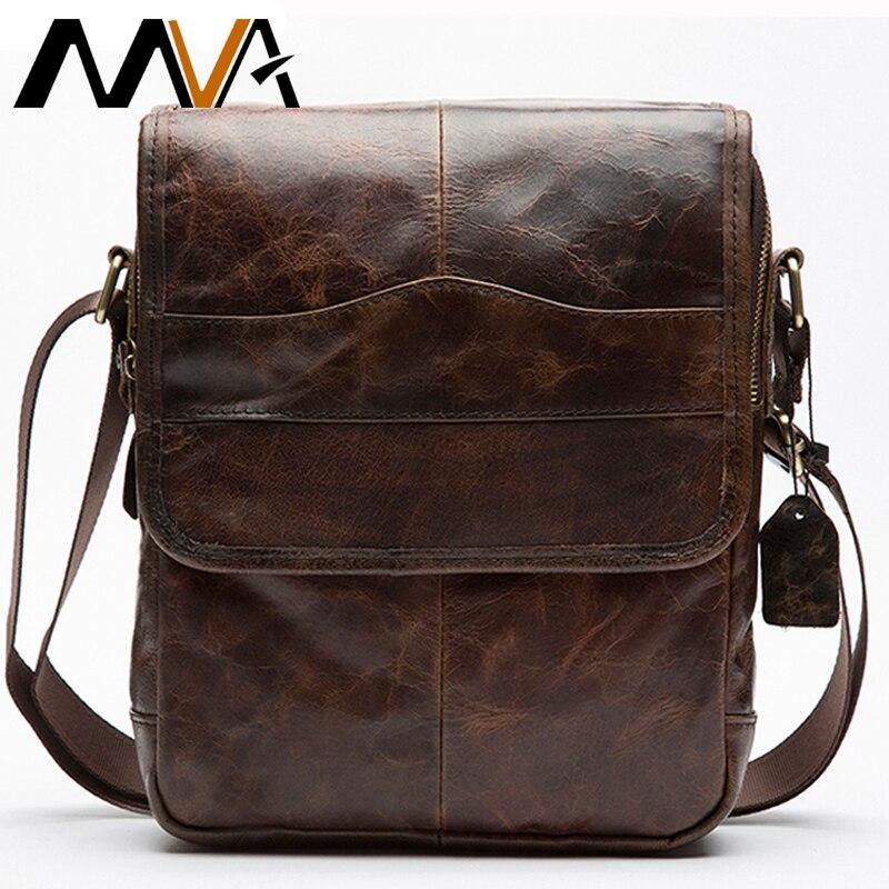 MVA Мужская сумка из натуральной кожи мужские сумки через плечо мужская кожаная модная мужская сумка на плечо мужские сумки 1121-in Сумки-кроссбоди from Багаж и сумки