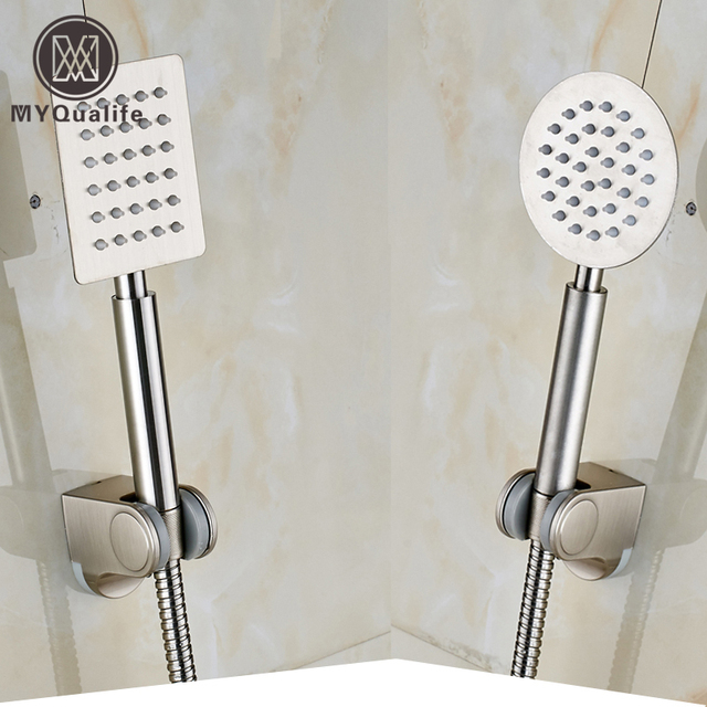 Brushed Nickel Handheld Shower Head ABS Wall Mounted Holder Stainless Steel  Shower Hose
