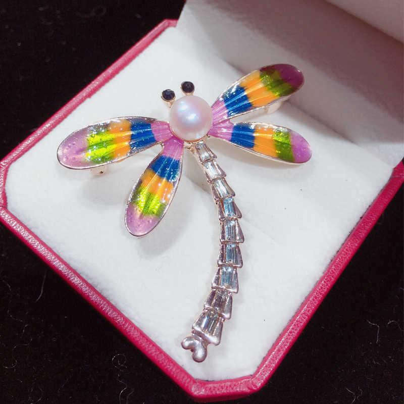 SHDIYAYUN 2019 nuevo broche de perlas libélula broche para mujeres broche de 3 colores alfileres perla de agua dulce Natural regalo de decoración