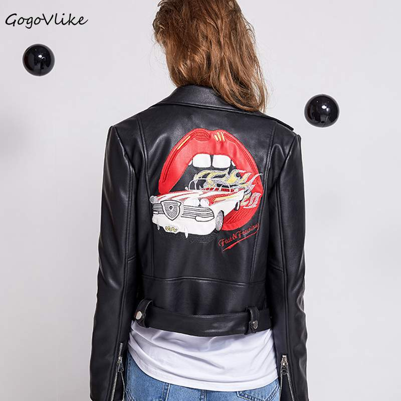 Black Motor leather jacket Embroidery mouth 2018 New Vintage Punk Rock chaqueta cuero mujer PU leather coat Short LT049S30