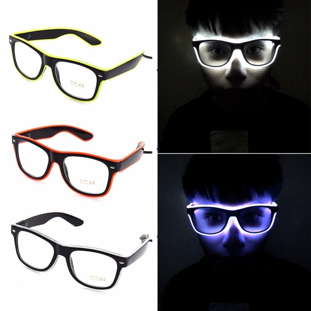 NEW Fashion 7 Colors Flashing EL Wire Led Glasses Luminous Party Decorative Lighting Classic Gift Bright Light Festival Gift in Glow Party Supplies from Home Garden