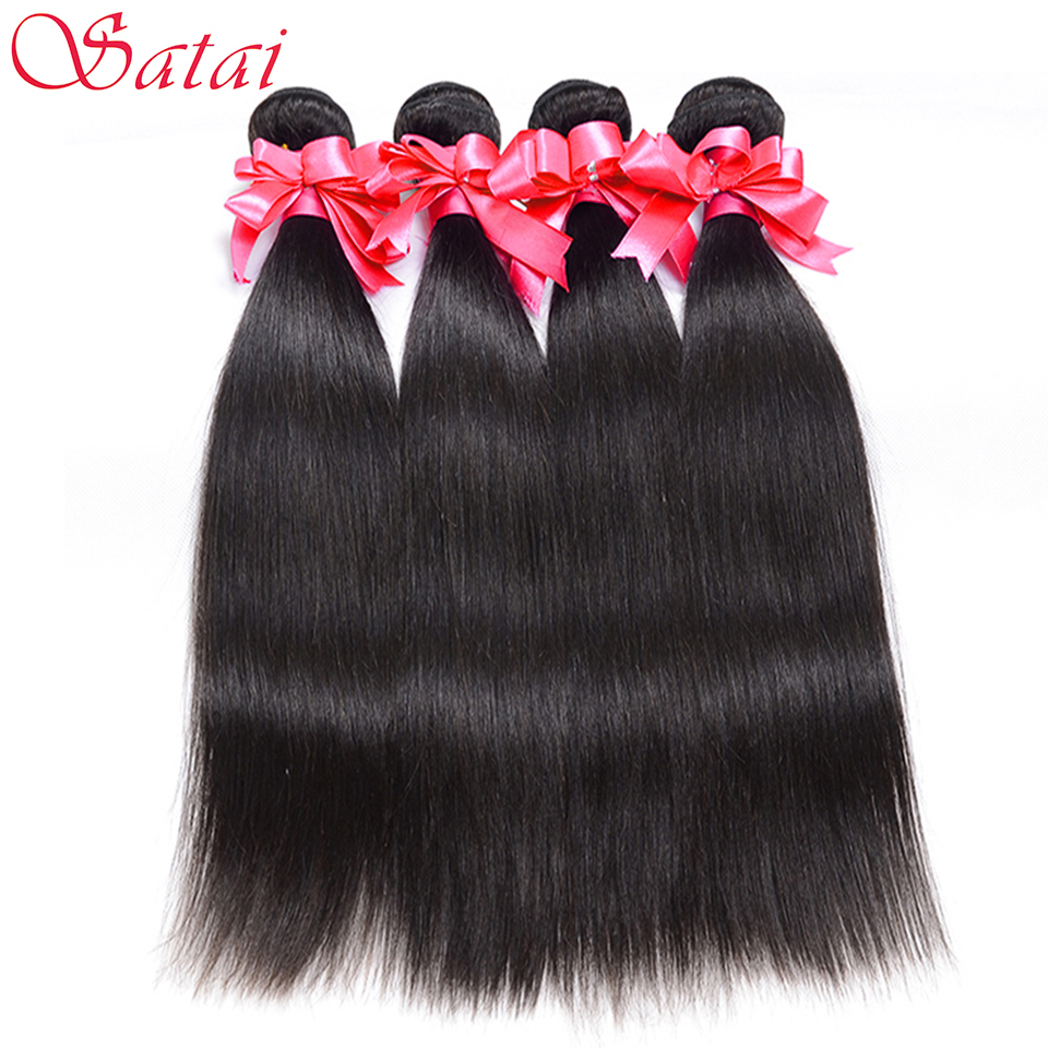 SATAI Malaysian Straight Hair 4 Bundles 100 Human Hair Bundles Natural Color Can Be Dye And