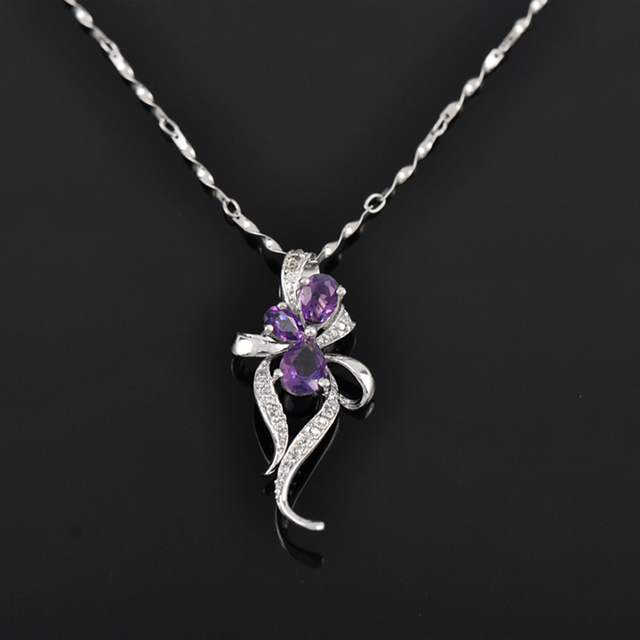 Fashion design pendant with necklace 100% natural amethyst pendant real 925 Solid Sterling Silver necklace best girlfriend gift