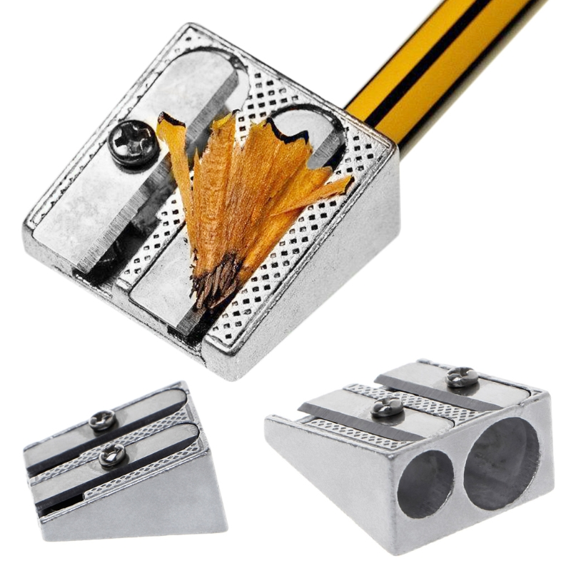 Metal Bevelled Double Hole Pencil Sharpener School Office Sharpener Stationery
