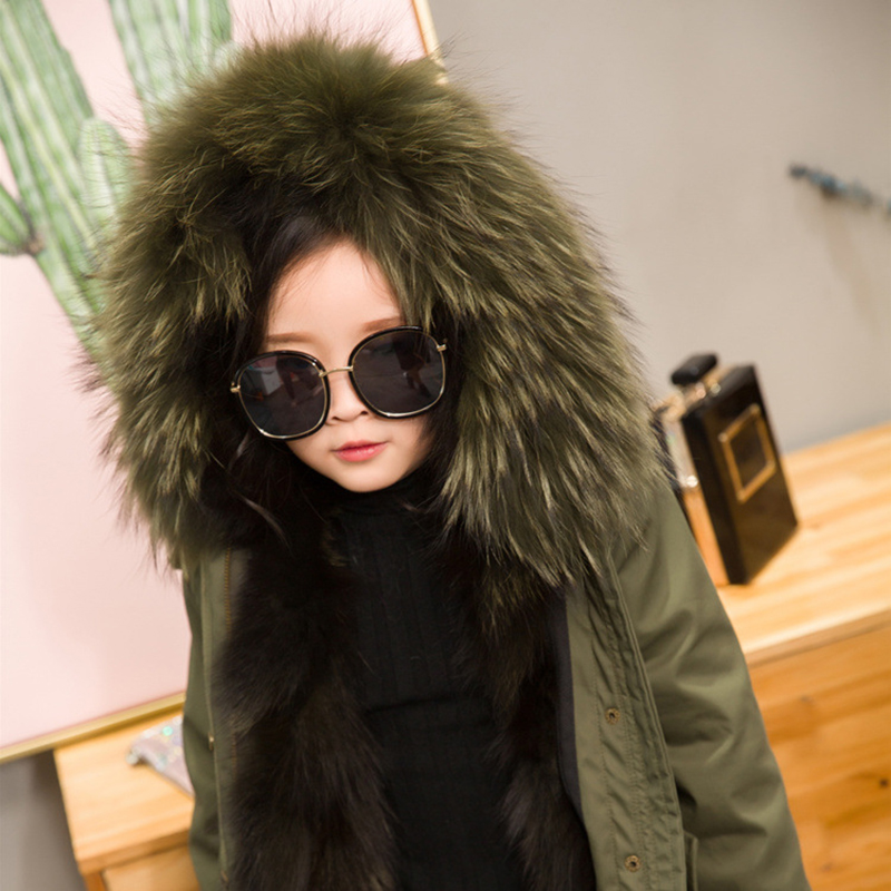 JKP 2018 children fur coat fashion fox fur liner leather big raccoon fur collar children's jacket thick warm coat CT-56