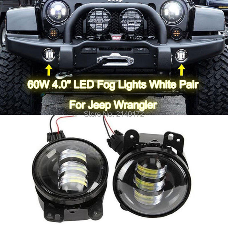 4INCH 30W Projector Lens LED Fog Driving Lights For Jeep Wrangler JK CJ Hummer Front Bumper Lights 4'' Fog Light on sale 2pcs auto accessories 6500k 4inch 30w led fog lamp light fits for jeep wrangler jk 2007 2015