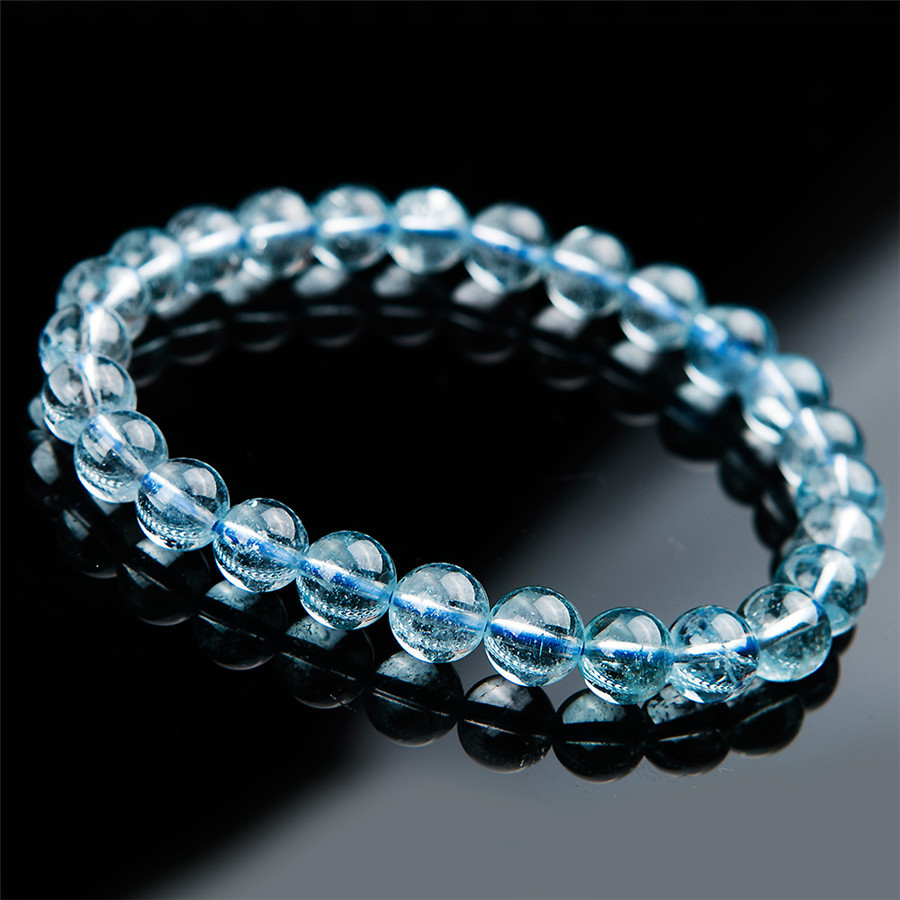 7 5mm Genuine Natural Blue Topaz Beads Bracelet Women Stretch Round Beads Crystal Bracelet Fashion AAAAA