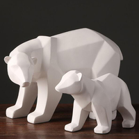 Abstract Resin Polar Bear Statue Sculpture Geometric Furnishing Home Decoration Accessories Modern Christmas Gift Animal Statues