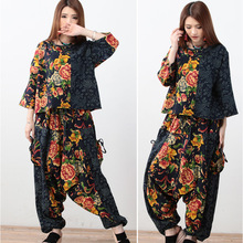 Real folk style casual jacket + pants crotch hanging cotton size two piece suit