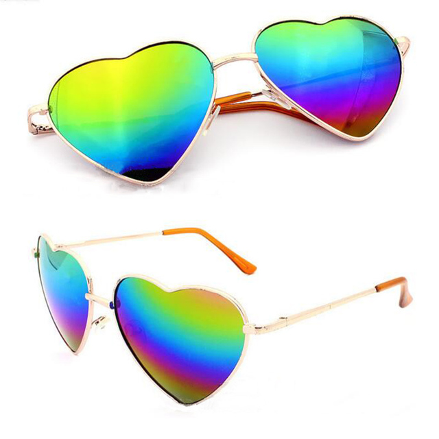 ab935051f7240 Fashion Heart Shaped Sunglasses Women Men Metal Frame Reflective Anti-UV AC  Lens Summer Love Heart Mirror Oculos De Sol Feminino