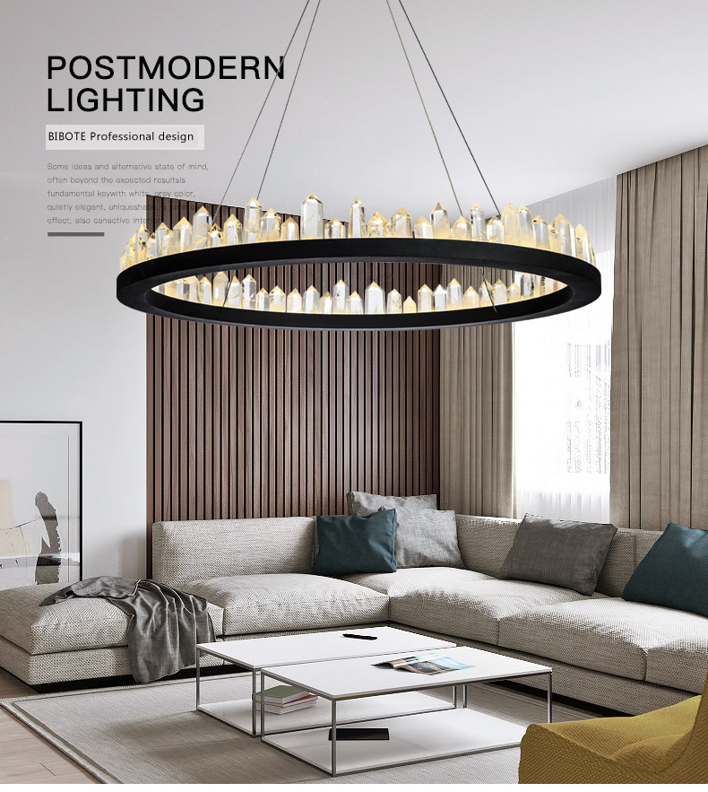 Modern LED Circle Ring Pendant Chandelier Lights For Living Room Dining Indoor Adjustable Lighting