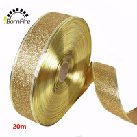 20m Single Face Ribbon Wedding Party Decoration Gift Wrapping Christmas New Year Apparel Sewing Fabric With