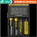 Nitecore d4 18650 li-ion del cargador de batería 18650 26650 aa aaa c LifeP04 Ni-MH Ni-cd Baterías Cargador + Adaptador de EE.UU. REINO UNIDO AU de LA UE