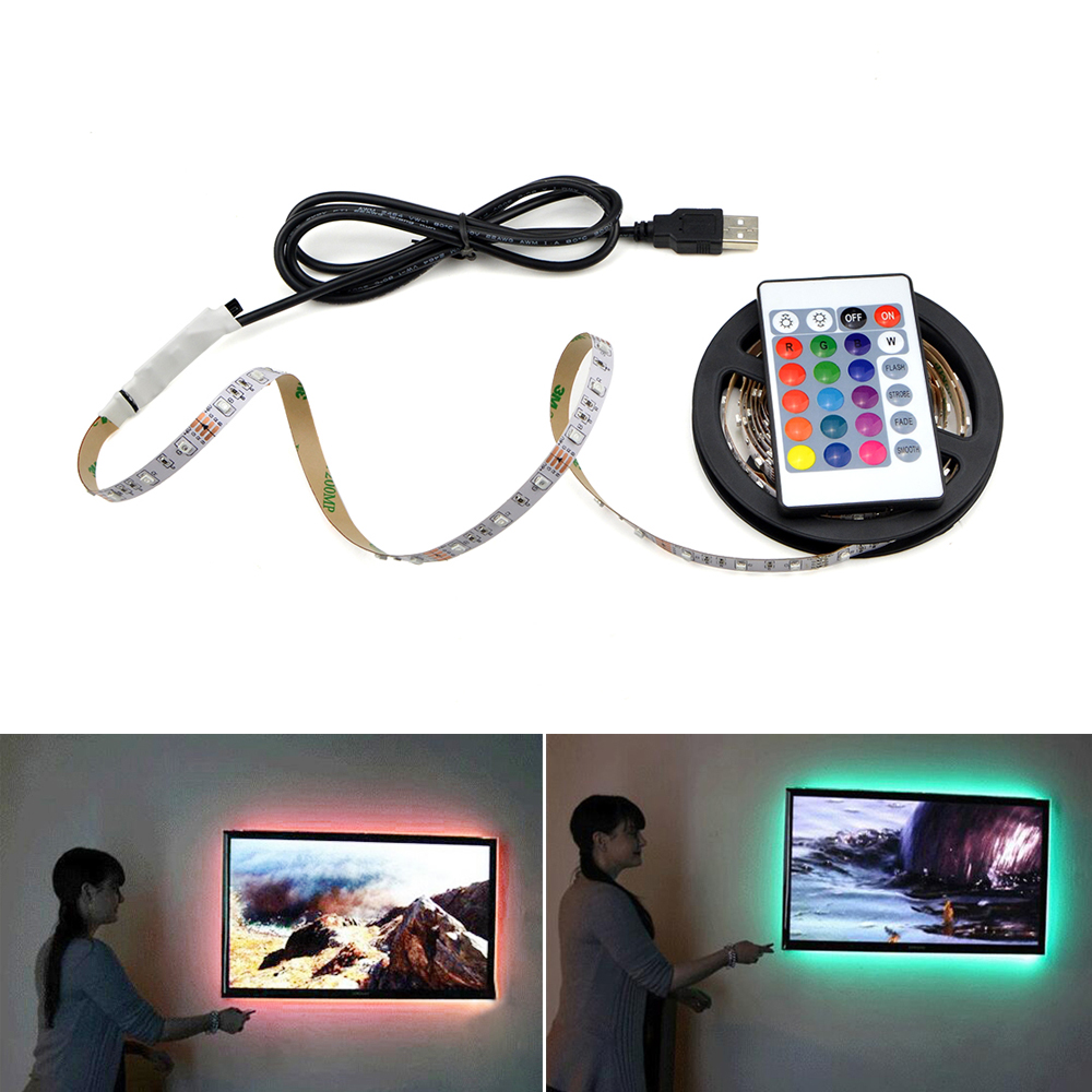 50CM 1M 2M 3M 4M 5M LED TV Light 2835SMD RGB LED Strip Light For Tv HDTV Neon Light Backlight Lamp With 24 Key Remote Control(China)
