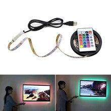50 см 1 м 2 м 3 м 4 м 5 м светодиодный светильник для телевизора 2835SMD RGB светодиодный свет для ТВ HD ТВ неоновая подсветка лампы с 24 клавишами дистанционного управления