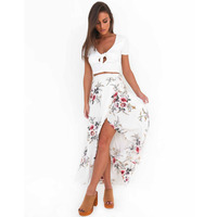 LASPERAL 2017 One Peice New Printed Fashion Skirt Women Open Side Split Skirt Faldas Mujer Ladies