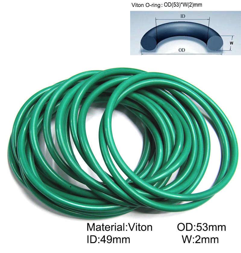 100 шт. 53 мм * 49 2 Viton уплотнительное кольцо dichtung зеленая прокладка Мотоцикла Часть/FKM