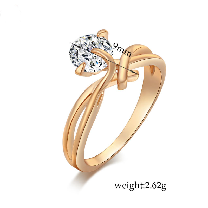 New Arrivals Top Quality Yellow Gold Color Twisted Intersect Channel Big Cubic Zirconia CZ Fashion Party Wedding Ring for Women